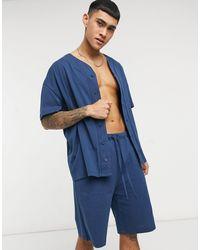 ASOS Lounge Pyjamaset Van Jersey Met Baseballtop En Short - Blauw