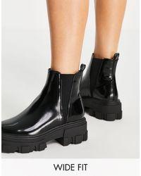 ASOS - Черные Ботинки Челси На Массивной Подошве Для Широкой Стопы - Lyst