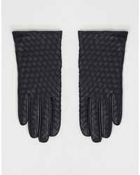 ASOS Leather Weave Gloves With Touch Screen - Black