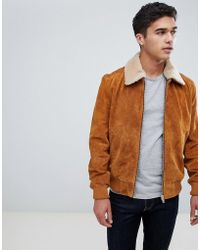 Barneys Originals - Barneys Originals Suede Bomber Jacket With Fleece Collar - Lyst