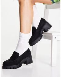 ASOS Wide Fit Storm Chunky Mid Heeled Loafers - Black