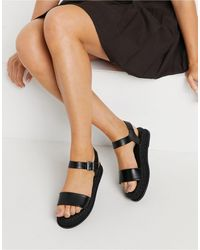 Truffle Collection Flatform Espadrille Sandals - Black