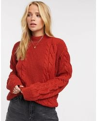 UNIQUE21 Chunky Cable Knit Jumper - Red