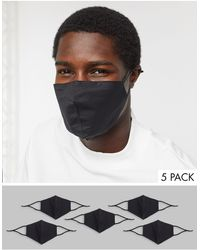 ASOS 5 Pack Face Coverings With Adjustable Straps And Nose Clip - Black