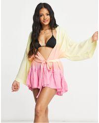 ASOS – Strand-Kimono mit Farbverlauf - Mehrfarbig