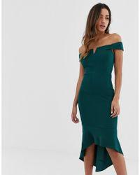 AX Paris Off Shoulder Hi Lo Dress With V Detail - Green