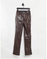ASOS ASOS DESIGN Tall - Pantalon coupe droite taille mi-haute style années 90 en PU - Chocolat - Marron