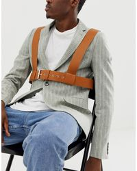 ASOS Faux Leather Chest Harness - Brown