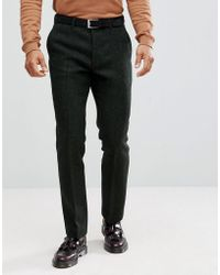 ASOS - Slim Suit Trousers In 100% Wool Harris Tweed In Green Herringbone - Lyst