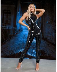 ASOS Hoogsluitende Mouwloze Jumpsuit Van Pu - Zwart