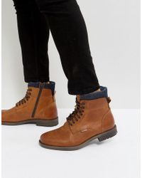 Levi's - Emmerson Leather Boots With Denim Detail In Brown - Lyst
