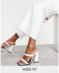 Raid Wide Fit Exclusive Megha Block Heeled Mules With Square Toe - White