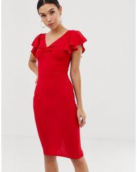 AX Paris - Midi-jurk Met V-hals En Ruches - Lyst
