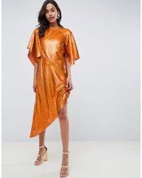 ASOS - Sequin Asymmetric Midi Dress - Lyst