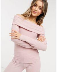 Lipsy Loungewear - Top côtelé à épaules dénudées - Rose