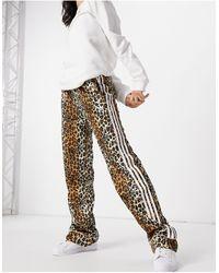 adidas Originals 'leopard Luxe' Satin Look Pajama Style Wide Leg Pants - Brown