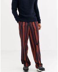 ASOS Pantalon large habillé taille haute à rayures - Bleu marine et orange