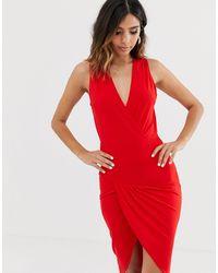 AX Paris Платье Миди С Запахом -красный