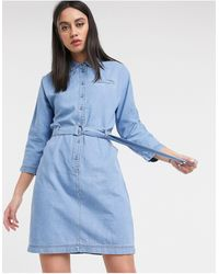 Lacoste Belted Denim Dress - Blue