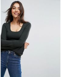 ASOS - Jumper In Rib With Scoop Neck And Fluted Sleeves - Lyst