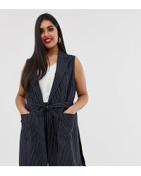 Simply Be Tailored Sleeveless Jacket With Belted Waist In Navy Pinstripe - Blue