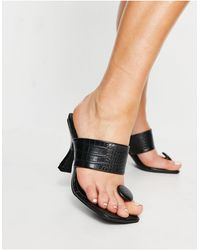 Public Desire Gaia Heeled Sandals With Toe Post - Black