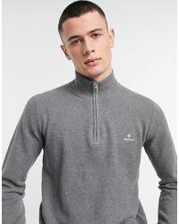 GANT Темно-серый Меланжевый Джемпер Из Хлопкового Пике С Логотипом И Короткой Молнией