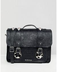 Dr. Martens Embossed Leather Satchel 15 Inch - Black