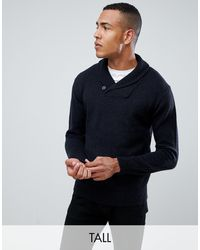 French Connection Tall Shawl Collar Chunky Cardigan - Blue