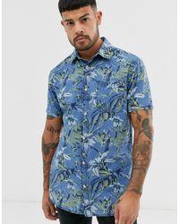 Jack & Jones Overhemd Met Korte Mouwen En Print In Blauw - Metallic