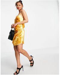ASOS - Платье-комбинация Мини Из Блестящего Атласа - Lyst