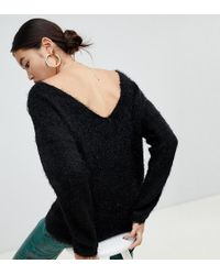 NA-KD Fluffy Low Back Sweater In Black