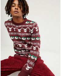 Another Influence Holidays Pattern Sweater - Red