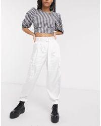Bershka Satin Utility Trousers With Belt - White