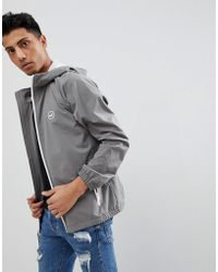Hollister - Hooded Windbreaker Jacket With Icon Seagull And Sleeve Logo In Grey - Lyst