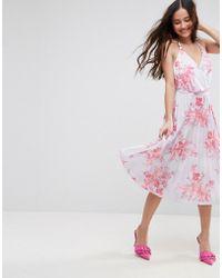 ASOS | Bright Floral Pleated Crepe Midi Dress | Lyst