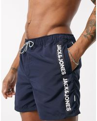 Jack & Jones Intelligence Recycled Polyester Swim Shorts With Side Taping - Blue