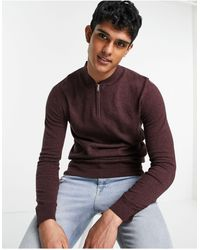 TOPMAN Longsleeve Knitted Jumper With 1/4 Zip - Red