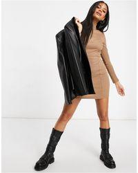 Naanaa Ribbed Zip Front Sporty Bodycon Dress - Grey