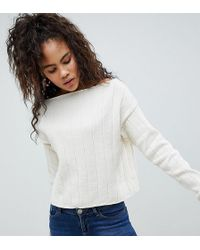 ASOS - Asos Design Tall Eco Off Shoulder Cropped Jumper In Oversized Rib - Lyst