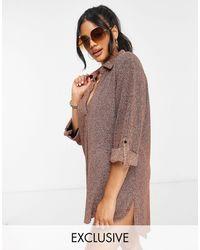 South Beach Пляжная Рубашка С Эффектом «золотисто-розовый Металлик» -золотистый