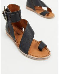 Free People Vale Asymmetric Strap Sandals - Black