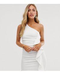 True Violet One Shoulder Frill Mini Bodycon Dress - White