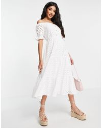 In The Style X Jac Jossa Broderie Off-the-shoulder Puff-sleeved Tiered Maxi Dress - White