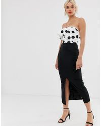 True Violet - Polka Dot Bandeau Midi Dress With Frill Detail - Lyst
