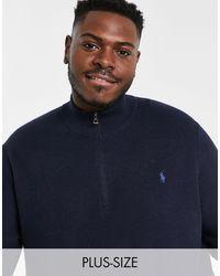 Polo Ralph Lauren Темно-синий Меланжевый Джемпер Из Хлопка Пима С Короткой Молнией И С Логотипом Игрока Big & Tall