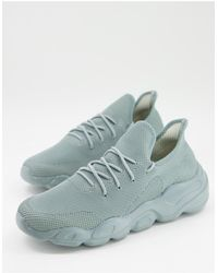 ASOS Knitted Runner Sneakers With Chunky Sole - Green