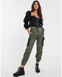 ASOS Pantalones militares en en tono petróleo lavado - Verde