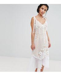 Jarlo Cutwork Lace Dress With Chiffon Hem And Tie Cami Straps - White