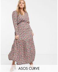 ASOS - Розовое Чайное Платье Макси С Длинными Рукавами И Цветочным Принтом - Lyst